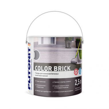 PLITONIT Color Brick серая Глазурь для освежения бетонных и мостовых камней 2,5 л
