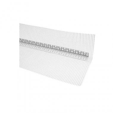 Izoway Угол фасадный ПВХ с сеткой белый 2,5 м